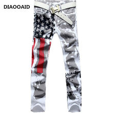 2018 New Arrival Men Casual American USA Flag Printed Jeans Mens Graffiti Print white hip-hop fashion pants Slim Fit Trousers(China)