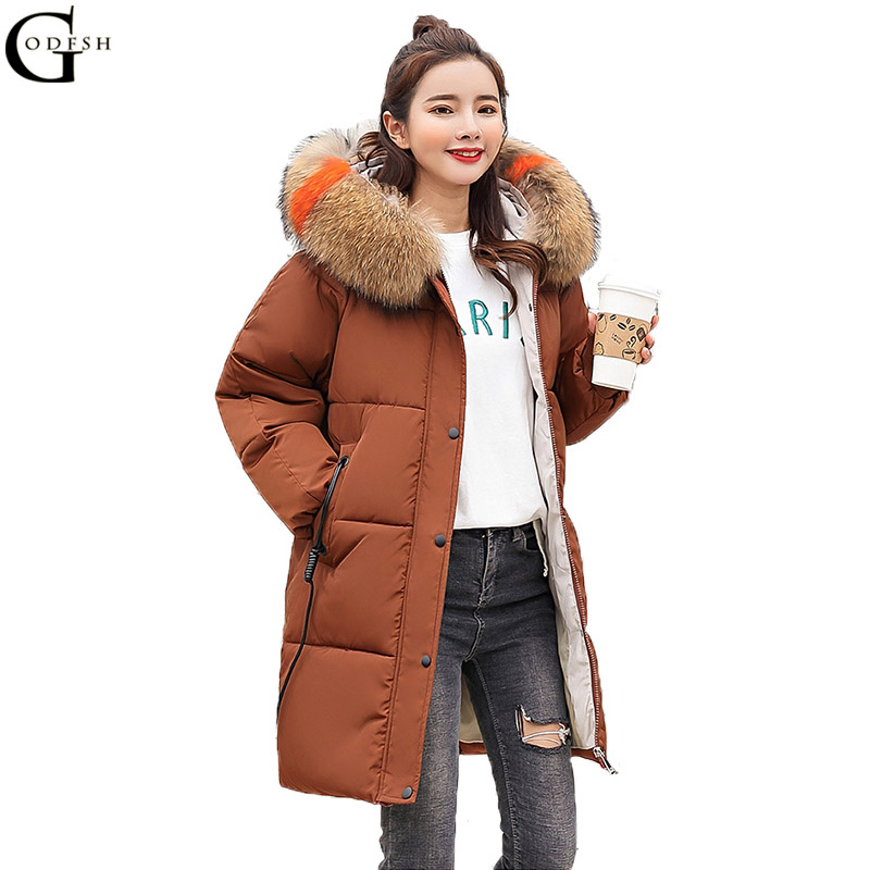 GODF Plus Size Women Winter Jacket Warm Thick Hooded Outwear Long Coat With Colorful Fur Collar Cotton Padded Jacket Parka WH228