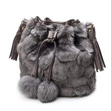 6ff14062e 2018 de moda de Mujeres de piel de imitación bolso de hombro bolsa de cubo  cadena lana borla bolso Messenger bandolera mujer sac.