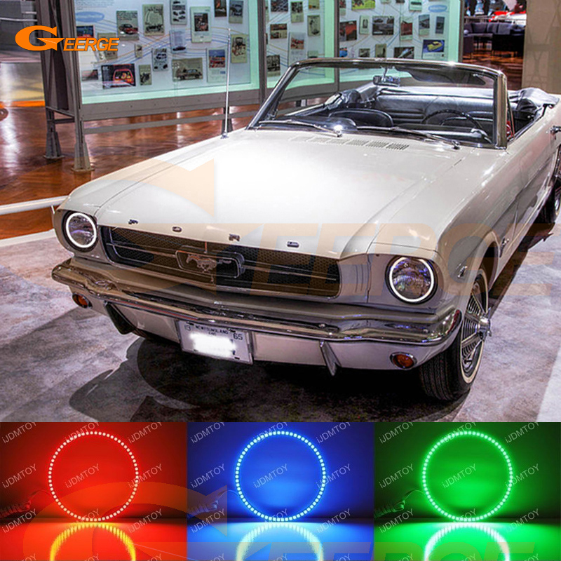 For Ford Mustang 1964-1973 Excellent RGB LED Angel Eyes Multi-Color Ultra bright angel eyes kit Halo Rings 2pcs super bright rgb led headlight halo angel demon eyes kit with a remote control car styling for ford mustang 2010 2012