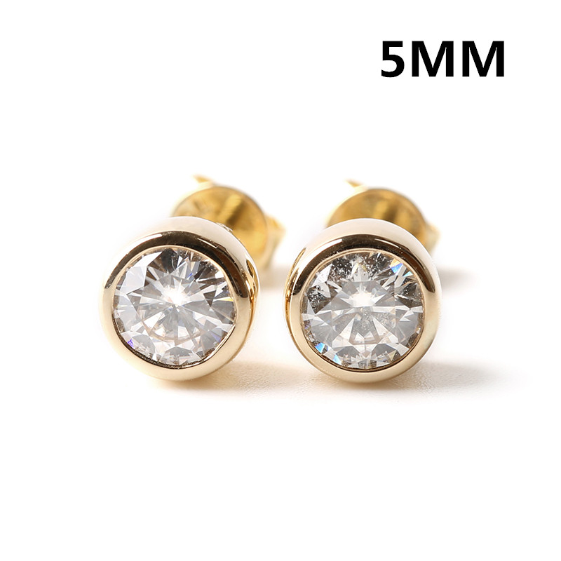 TransGems 1 TCW 0.5 Carat Lab Grown Moissanite Diamond Stud Earrings Solid Yellow Gold Screw Back Bezel Setting for Women Gift transgems 1 60 ctw lab grown moissanite diamond stud earrings flower shaped in solid white gold push back for women