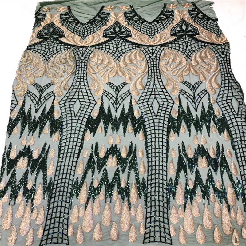 Fashionable Mesh Lace Green Gold Nigeria French Tulle Net Lace Latest 5 Yards African Lace Fabric