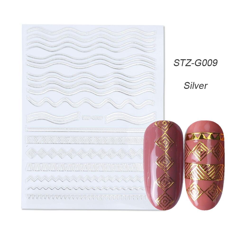 1 шт золотые Серебристые 3D наклейки для ногтей прямые изогнутые вкладыши полосы ленты обертывания геометрический дизайн ногтей украшения BESTZG001-013 - Цвет: STZ-G009 Silver