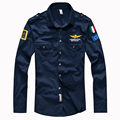 2016 camisa de la fuerza aérea uno de los hombres de camisa de manga larga delgado ajuste aeronautica militare camisa de los hombres vestido 4XL camisas hombre camisa masculina