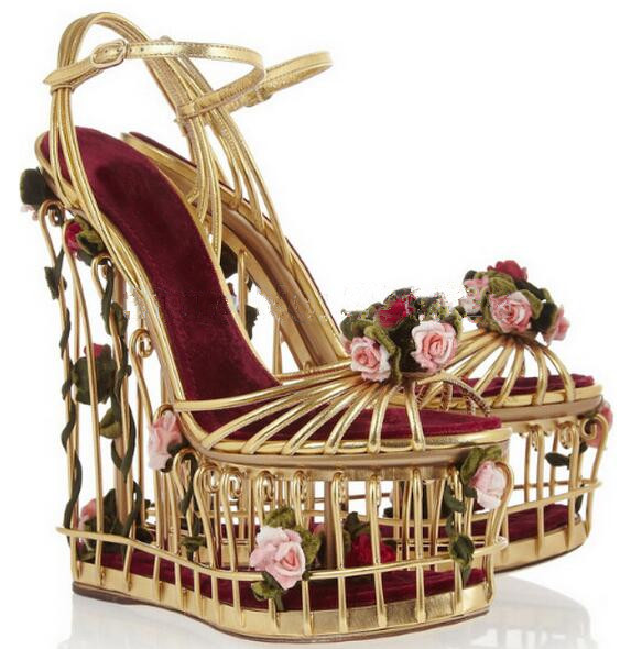 Sestito Girls Special Bird Cage Fretwork High Heels Dress Wedding Runway Shoes Ladies 3D Rose Decorated Platform Wedges Sandals bird leaf decorated bracelet