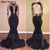 Long Sleeve Lace Prom Dresses For African Black Girls With Lace ApplIques Backless Sexy See Through