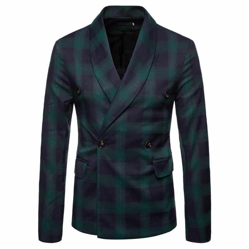 Мужские блейзеры Британский Стиль двубортный зеленый фруктовый воротник решетки тонкий высокого класса на заказ деловой джентльмен платье костюм пальто