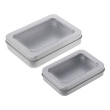 Delicate Window Top Metal Tin Can Box Silver Blank Storage C