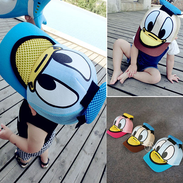 Donald Duck Baseball Cap petten kidsfor boys and girls Snapback Caps Hip Hop Flat summer kids hat Funny Hats for 2-6years