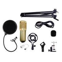 Top Deals BM800 Condenser Microphone Kit Studio Suspension Boom Scissor Arm Sound Card Gold Pink White
