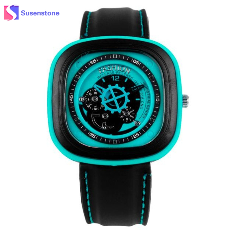 2017 New Rubber Gel Band Square Quartz Watch Men Male Fashion Clock Casual Military Sports Wrist Watches relogio masculino weide new men quartz casual watch army military sports watch waterproof back light men watches alarm clock multiple time zone