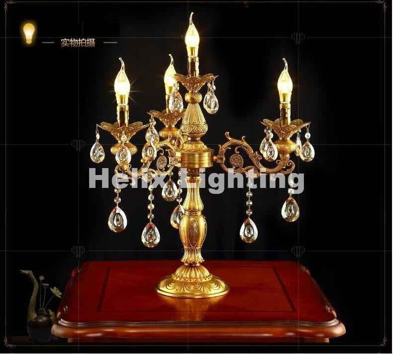 Европейский современный d51cm Золотая роскошь Crystal LED настольные лампы Европейский Стиль Спальня прикроватный светильник AC 100% подлинные часы