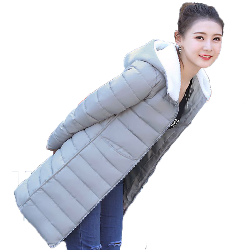 2017 Winter Long Slim Women Parkas Warm Female Cotton-padded Jacket Thick Solid Hooede Coat Fashion Ladies Wadded Outwear YP0440 2017 new women winter coat long quilted jacket thick warm solid color cotton parkas female slim hooded zipper outwear okb88