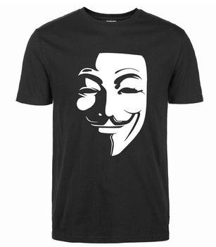 Горячие короткий рукав Гая Фокса футболка анонимные маска хип-хоп новые летние рубашки 2018 Для мужчин футболки