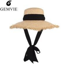 GEMVIE Handmade Weave Raffia Sun Hats For Women Black Ribbon Lace Up Large Brim Straw Hat Summer Beach Caps Chapeu Feminino
