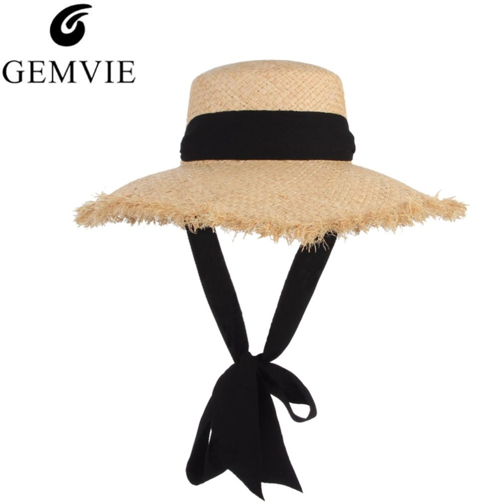 Handmade Weave Raffia Sun Hat Wanita Black Ribbon Lace Up Large Brim Hat Straw sombrero de mujer Summer Beach Cap Chapeu Feminino