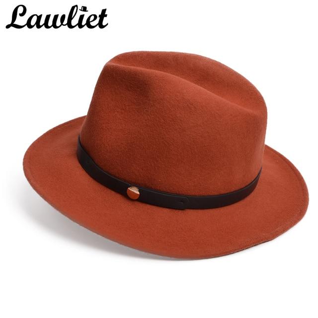 777f4d9cf5e Lawliet Autumn Winter Women Hats Man Wide Brim Crushable Wool Felt Brown Safari  Hat Fedora Hat Festival Cap Chapeau Feminino Hat