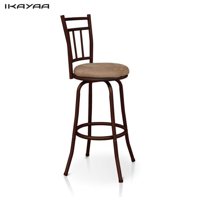IKayaa Antique Chaise DE Bar Pivotante Avec Dossier Cadre En Metal Cuisine Salle A Manger
