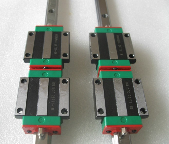 2pcs Hiwin linear guide HGR20-2200MM + 4pcs HGW20CA linear flanged blocks for cnc