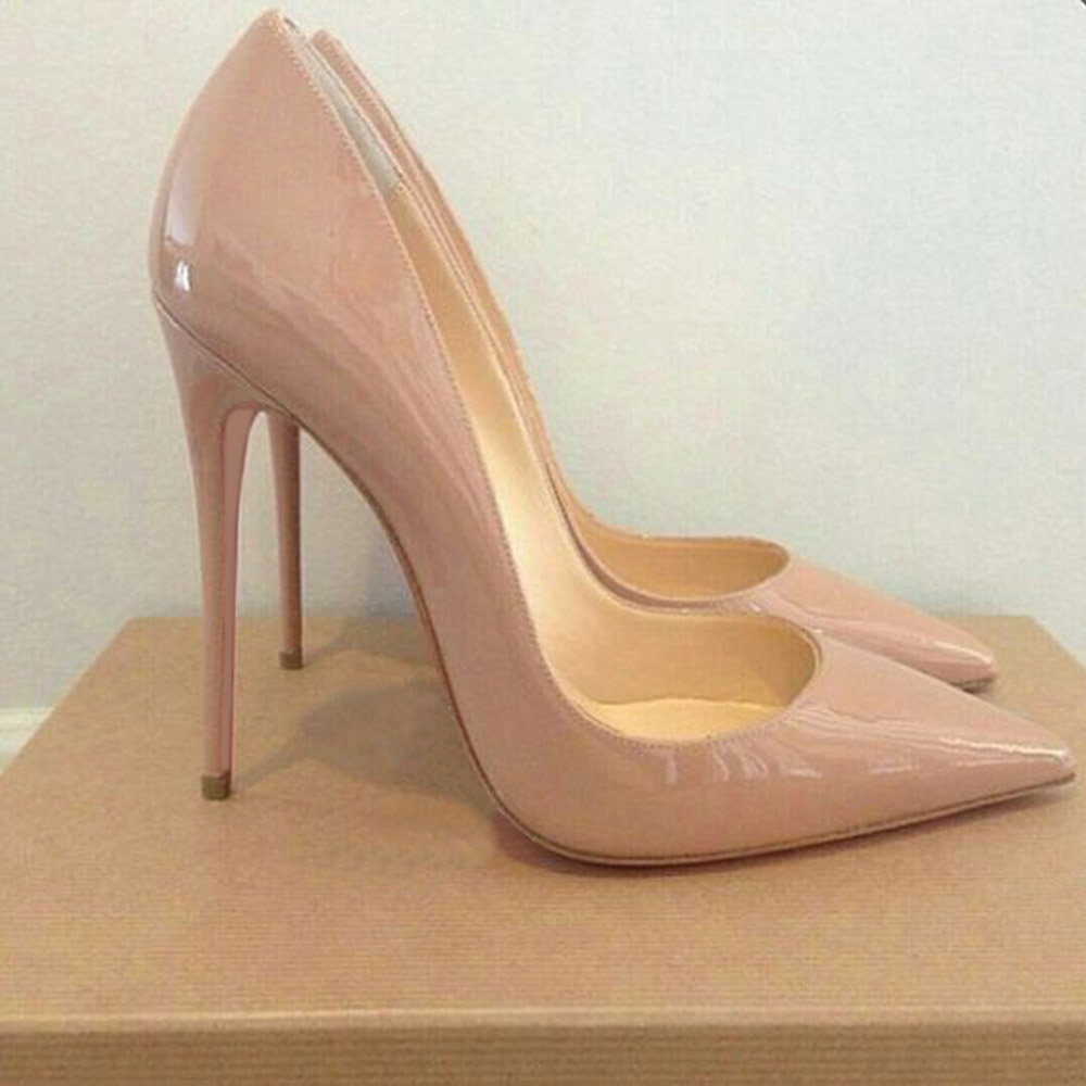 GENSHUO Women Pumps Heeled Shoes Nude Pointed Toe Sexy <font><b>High</b></font> <font><b>Heel</b></font> Shoes Stiletto <font><b>High</b></font> <font><b>Heels</b></font> Ladies <font><b>12</b></font> 10 8 <font><b>cm</b></font> Big Size 42 image