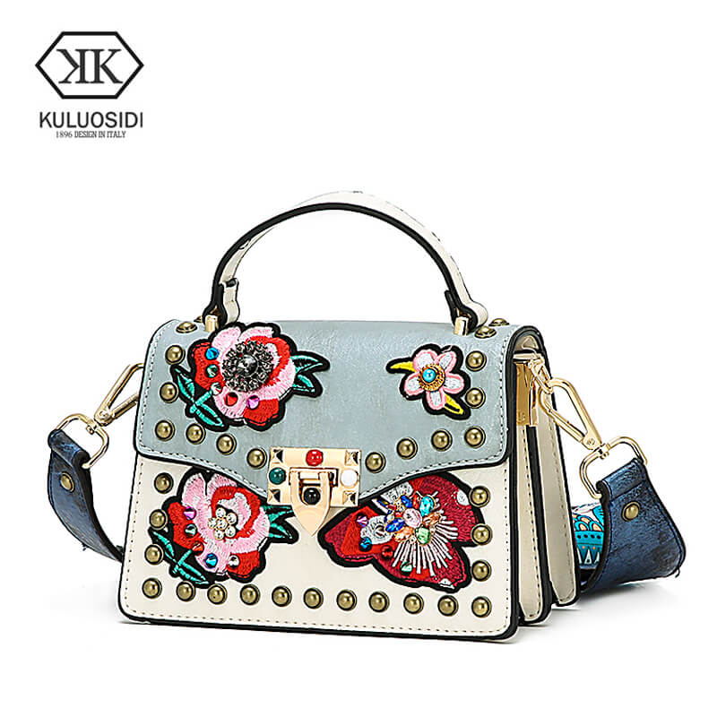 3d97db8dd40fb Detail Feedback Questions about KULUOSIDI Fashion Small Flap Bag Rivet  Women Messenger Bags PU Leather Female Handbags Floral Crossbody Bags with  Colorful ...