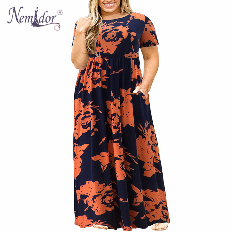 Nemidor 2018 Hot Sales Women O-neck Short Sleeve Long Summer Casual Dress Plus Size 7XL 8XL 9XL Vintage Maxi Dress With Pockets  4