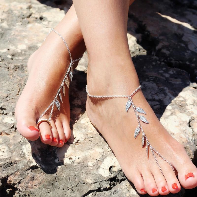 Elegant Fashion Leaf Anklet Women Ankle Bracelet Beach Dangle Leaf Bracelet Bohemian Barefoot Sandal Anklet Chain Foot Jewelry