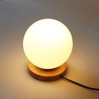 Creative חם בלילה אור עץ פשוט כדור זכוכית דקורטיבית בבית, מנורת אורות שולחן ליד מיטת חדר שינה מנורות שולחן ZA