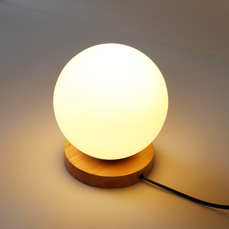 Creative Warm Night Light Simple Wooden Glass Ball table Lamps Bedroom Bedside Table lights Decorative Home Lighting lamp ZA