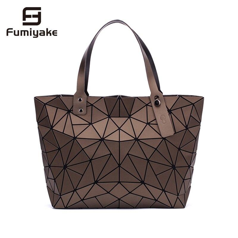 2019 New Fashion Luminous Sac Women Bag Diamond Tote Geometric Quilted Shoulder Bags Laser Plain Folding Handbags Bolso
