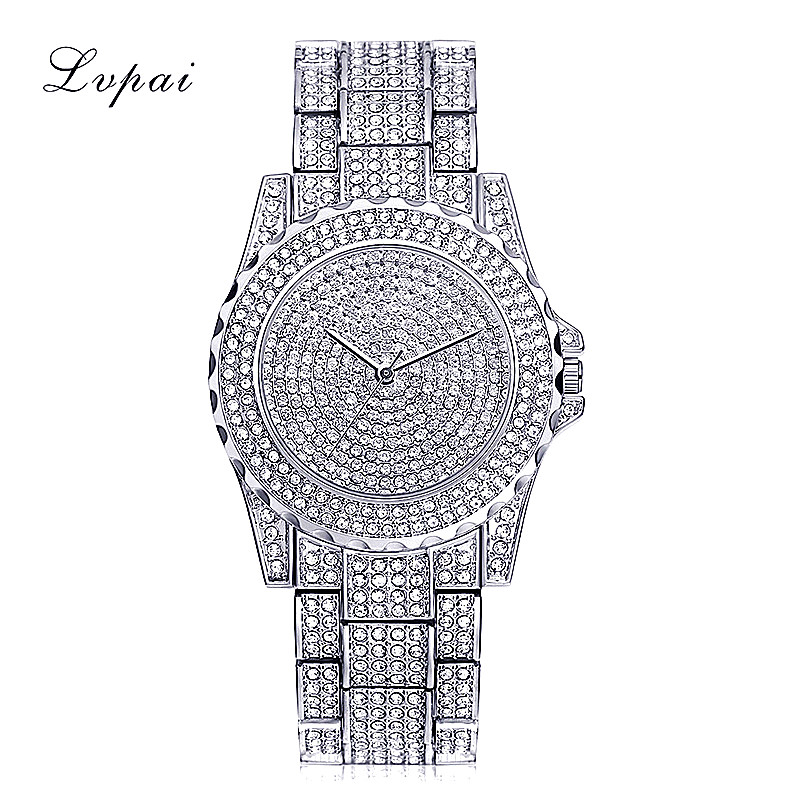 цена на Lvpai 2018 Bling Watch Women Bracelet Brand Clock Womens Gold Ladies Watch With Rhinestones High Quality Charm Wristwatch Gift