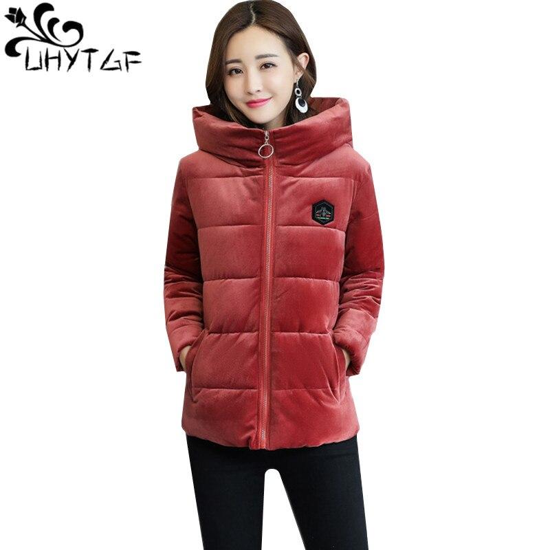UHYTGF зима золото бархат хлопковое пальто Для женщин с капюшоном короткая куртка с длинными рукавами теплая хлопковая верхняя одежда 3XL Больш...