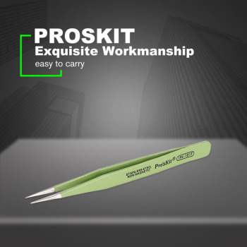 Proskit 1PK-101T 120mm Insulated Tweezer Non-magnetic Anti-static Round Cuspid Straight Tweezer For Soldering Station glamlash st 11 st 12 st 14 st 15 series anti static tweezer curved tweezer straight tip tweezer makeup tool