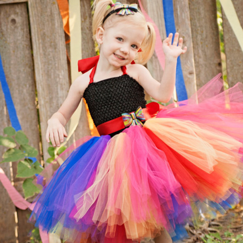 Sweet Rainbow Children Girls Summer Tulle Tutu Dress With