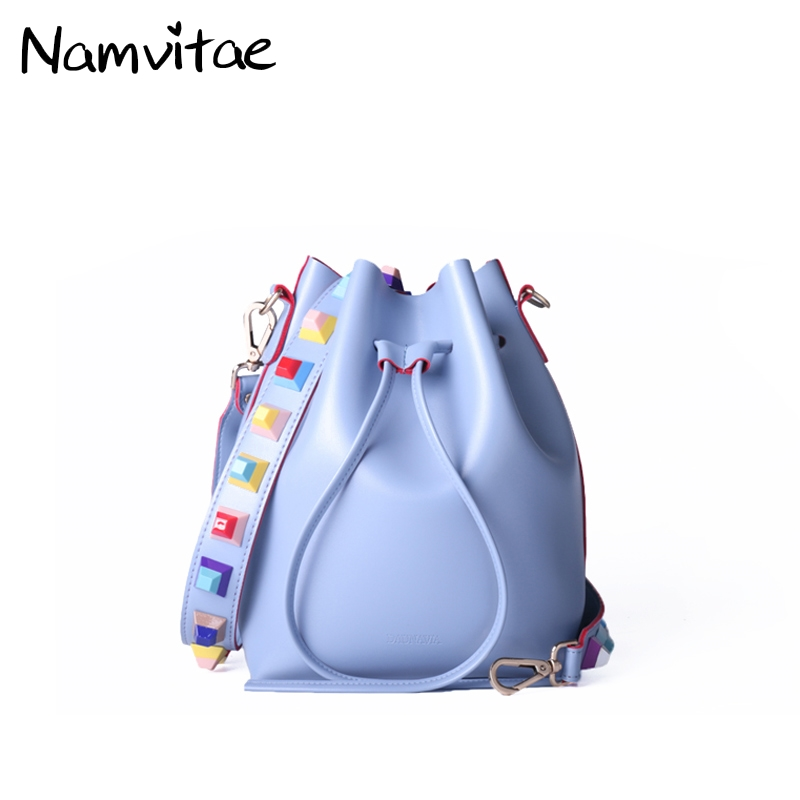 2017 New Fashion Women Small Crossbody Bucket Bags Colorful Rivet Strap Women Shoulder Bag Soft PU leather String Bags for Girls цена 2017