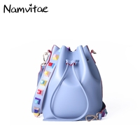 Namvitae New Women Bucket Bags With A Small Crossbody Bags For Women Shoulder Handbags Colorful Strap
