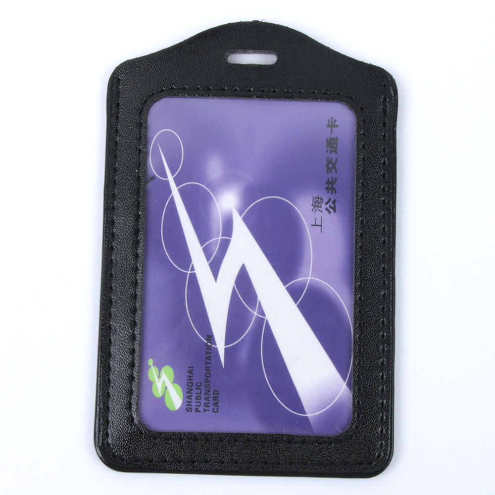 PU Leather ID Badge Case Clear And Color Border Lanyard Holes Bank Credit Card & ID Holders ID Badge Holders Accessories