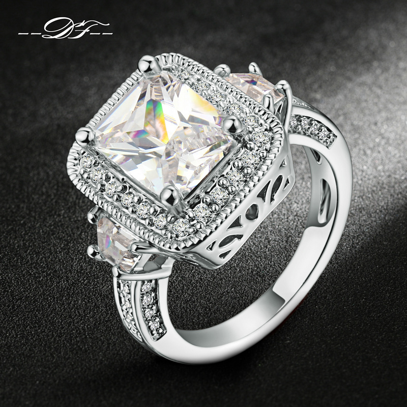 exaggerated luxury cz stone engagement ring silverrose gold color cubic zirconia wedding jewelry for men and women anel dfr301 - Cheap Men Wedding Rings