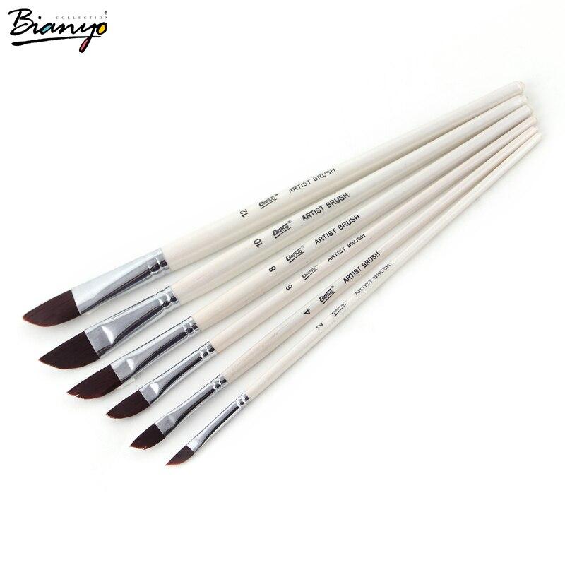 Bianyo 6 pcs nylon Dagger Stripper paint brushes set for artist professional school supplies children adult art high quality 14 grey deer mongolian dagger with sheath