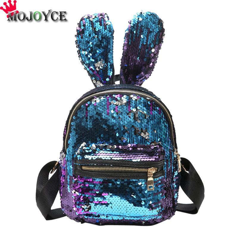 Bling Sequins Backpack Cute Big Rabbit Ears Double Shoulder Bag Women Mini Backpack Children Girls Rucksack Travel Bag mochila 2017 small fresh mini shoulder bag with three pairs of ears can replace the small backpack cute modeling trend backpack y088