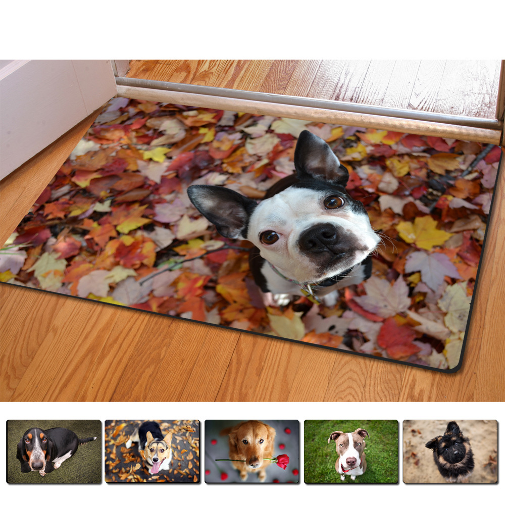 Rubber floor mats for dogs - 40 60cm Non Slip 3d Printed Doormats Cute Dog And Rose Printing Rubber Door Mat For Living Room Bedroom Floor Mats Kitchen Rug