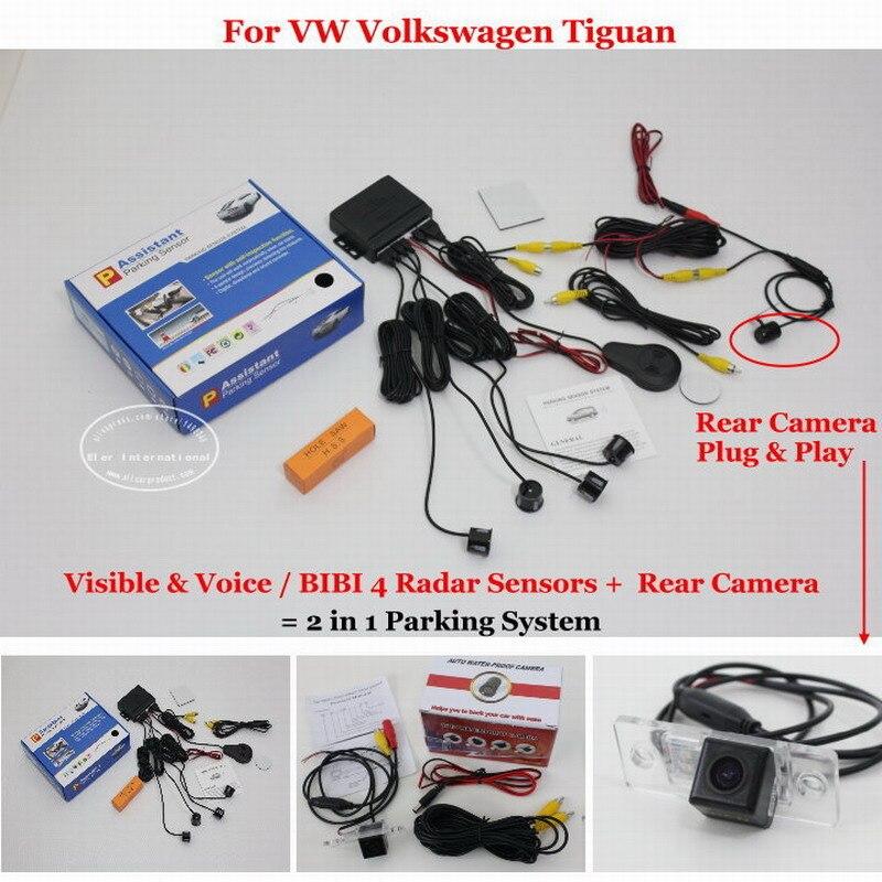 Liislee Voiture Capteurs de Stationnement + caméra de Recul = 2 dans 1 Visuel/BIBI Alarme Parking Système Pour VW Volkswagen Tiguan 2007 ~ 2014