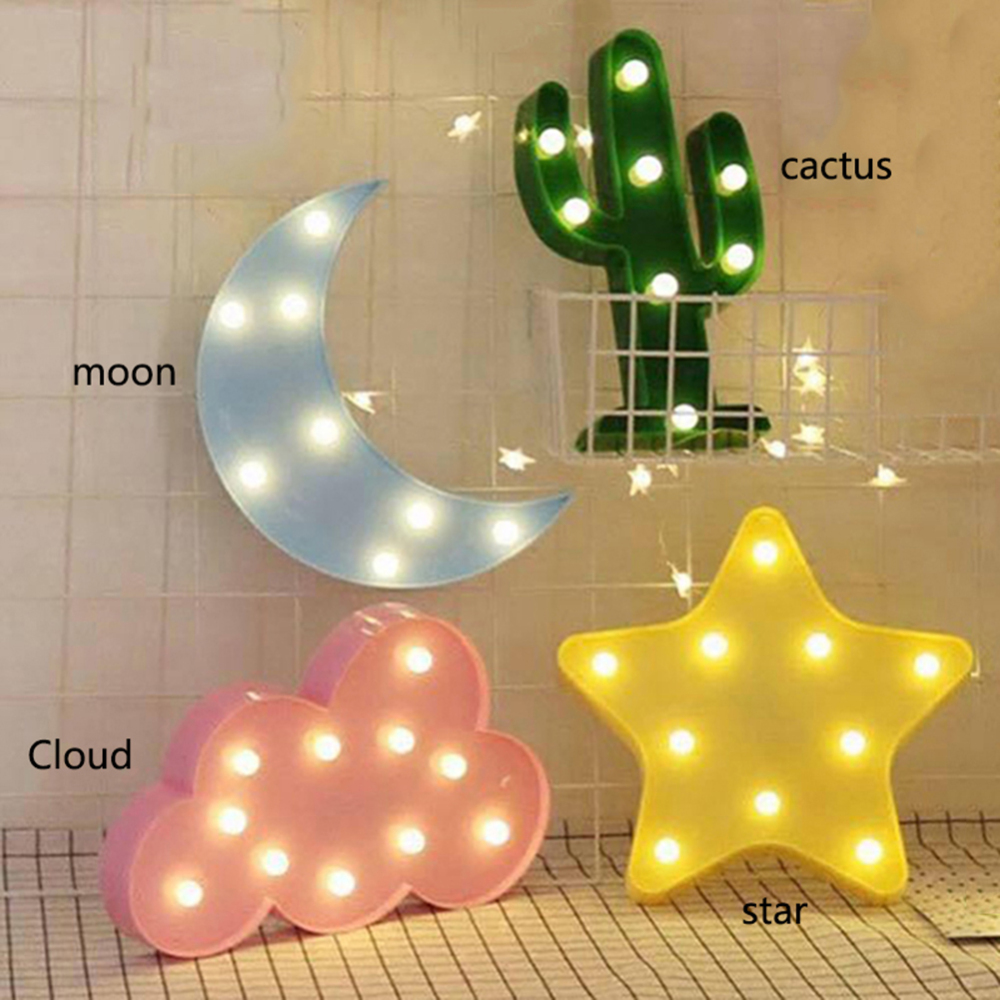Lovely LED 3D Light Cloud Star Moon Night Light Kids Gift Toy For Baby Children Bedroom Tolilet Lamp Decoration Indoor Lighting