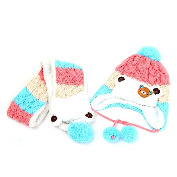 Bekleidung Zubehör Polyester Hut Schal Set Bunte Kinder Cute Bear Häkeln Strickmützen Beanie Cap Rosa/see Blau