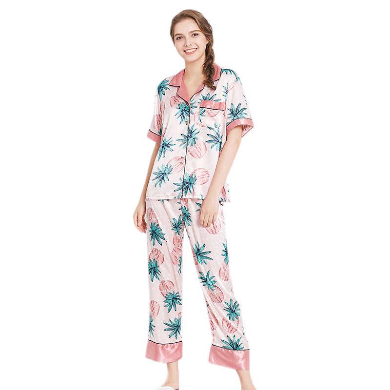 אביב סתיו אישה גבירותיי בית קצר שרוול משי חמוד אננס הדפסת נשים פיג 'מה סטי חליפות
