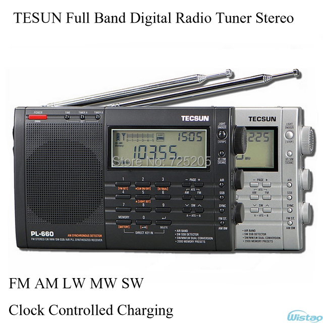 TESUN Full Band Digital Radio Tuner Tuning Stereo Clock Controlled Charging FM AM LW MW SW Air Battery Audio Free Shipping