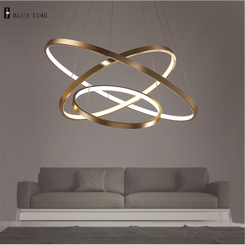 Golden 3 Circle Rings Led Simple Pendant Lights For Living