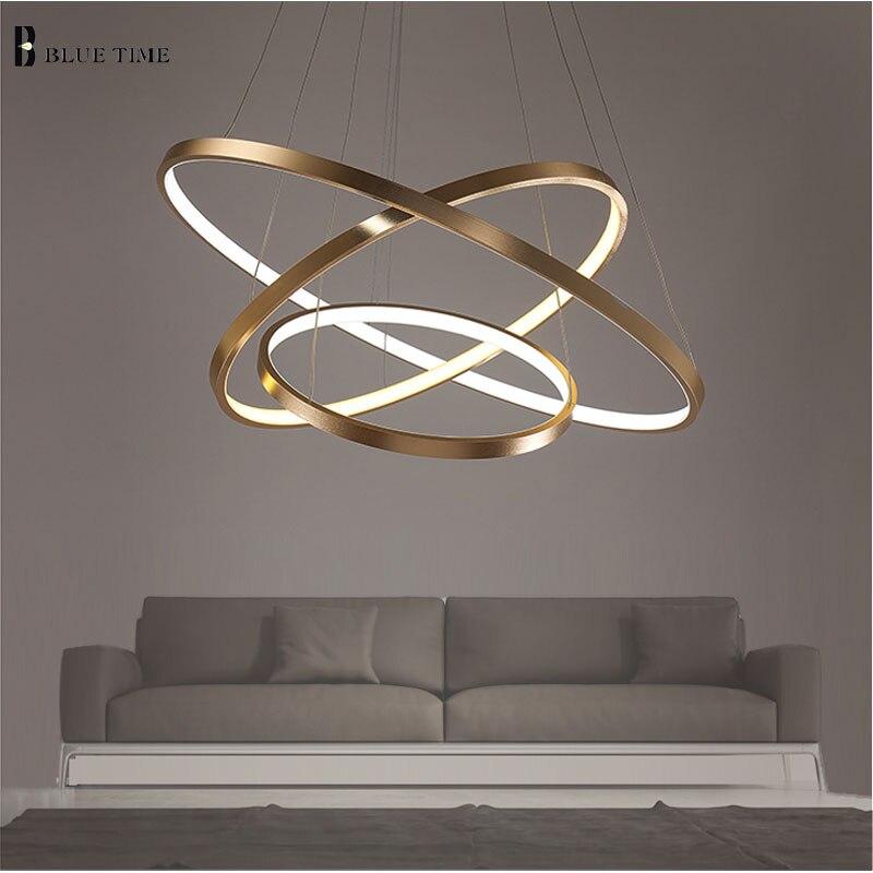 Goldene 3 Kreis Ringe LED Einfachen Pendelleuchten Für Wohnzimmer Esszimmer LED Lustre Pendelleuchte Hängen Deckenleuchte