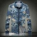 Novo 2016 moda mens calças de brim flor camisas tamanho grande 5XL alta qualidade camisa masculina Longa-sleeved camisas de denim 8