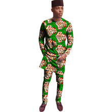 African Print Tops With Trousers Men's Set Africa Clothing Men Dashiki Suit Male Wedding Wear Kitenge Outfit